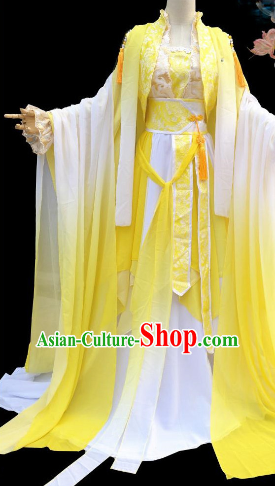 Yellow Ancient Chinese Princess Clothes Complete Set for Women
