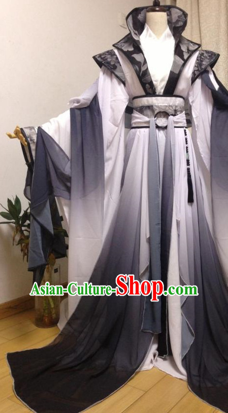 Color Transition Black and White Ancient Chinese Queen Costume Complete Set for Women
