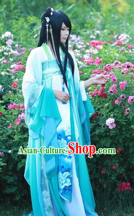 Blue White Ancient Chinese Poetess Costume Complete Set for Women