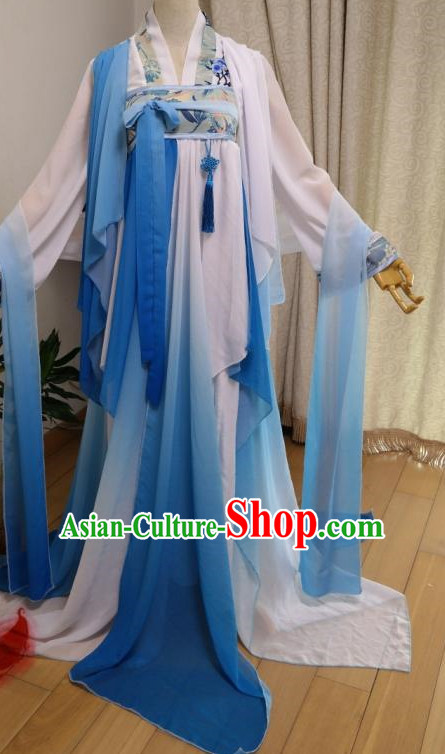 White Blue Ancient Chinese Dancer Costumes Complete Set for Women