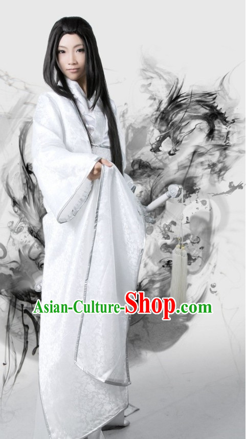 Pure White Traditional Chinese Swordsman Costumes and Long Wigs Complete Set for Men