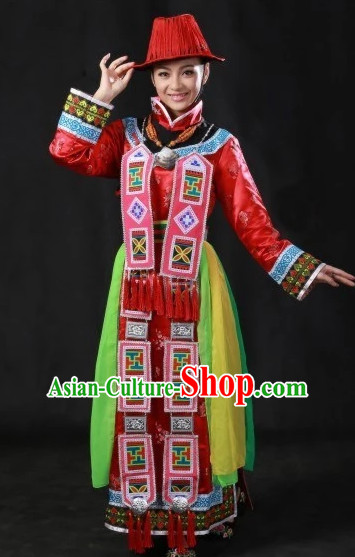 Traditional Chinese Yugu Clothes and Hat Complete Set for Women