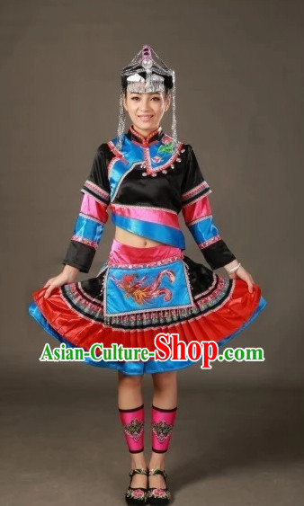 Traditional Chinese Ethnic Minority Clothing and Hair Accessories Complete Set for Women