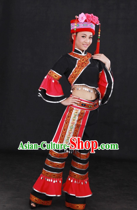 Traditional Chinese Ethnic Mulao People Folk Dresses and Hat Complete Set for Women