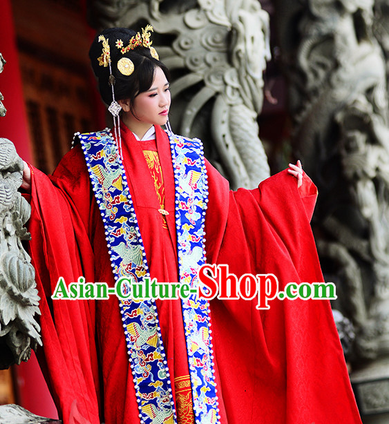 Ancient Chinese Traditional Bridal Wedding Ceremonial Dresses for Women