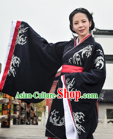 Chinese Black Hanfu Clothing Complete Set for Women