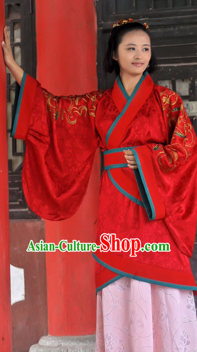 Chinese Traditional Red Bridal Dress and Hair Accessories Complete Set for Women