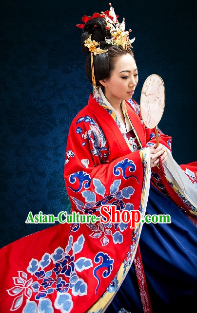 Chinese Traditional Red Bridal Attire and Hair Accessories Complete Set for Women