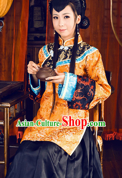 Traditional Chinese Minguo Time Clothing and Hair Jewelry Complete Set