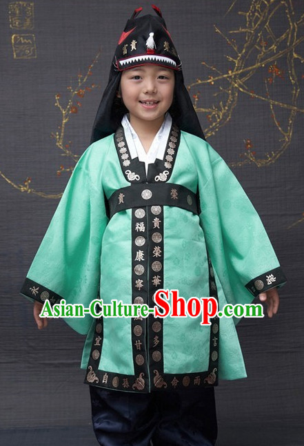 Ancient Korean Palace Prince Clothing and Hat Complete Set for Kids
