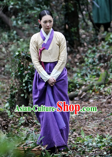 Ancient Korean Hanbok Clothes and Head Band Complete Set for Women