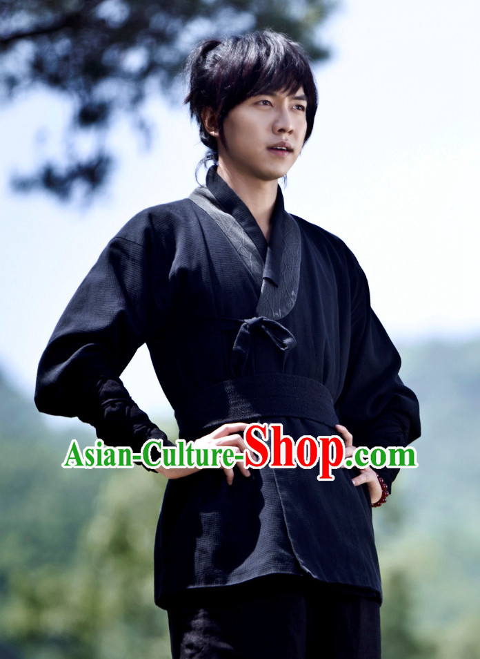 Ancient Korean Black Kung Fu Master Male Clothing