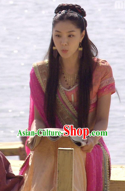 Ancient Korean Princess Costumes and Hair Accessories Earrings Complete Set