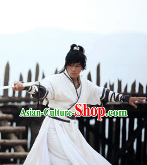 Ancient Korean White Superhero Costume Complete Set for Men