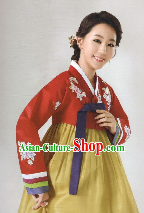 Custom-made Korean Fashion Hanbok and Hair Accessories Complete Set for Women