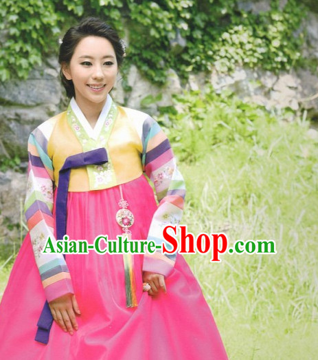 Korean Classic Hanbok and Hair Accessories Complete Set for Women