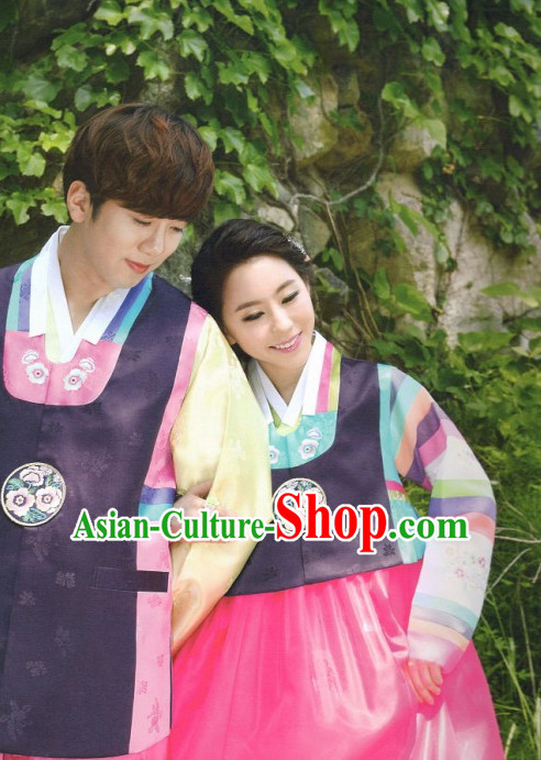Korean Classic Hanboks Garment and Hair Accessories 2 Complete Set for Husband and Wife