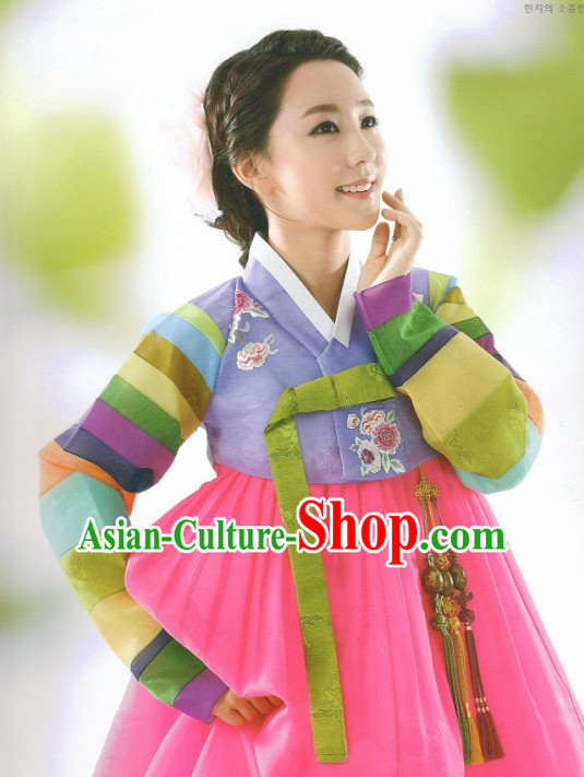 Korean Fashion Hanbok and Hair Accessories Complete Set for Ladies