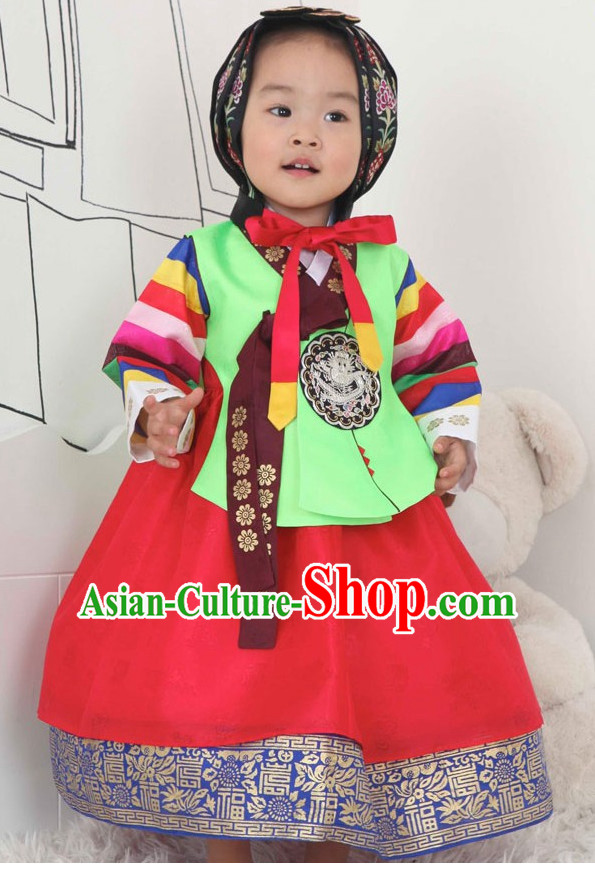 Korean Fashion Princess Hanbok and Hair Accessories Complete Set for Children