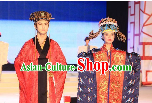 Ancient Emperor and Empress Clothes and Hats 2 Sets
