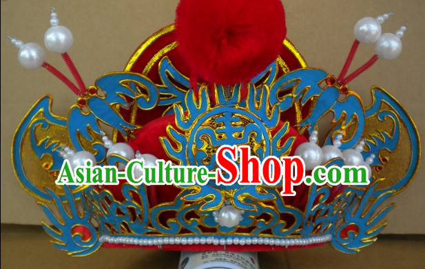 Red Ancient Chinese Peking Opera Zhong Kui Hat