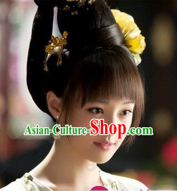 Ancient Chinese Princess Bun, Whole Wig and Hair Accessories