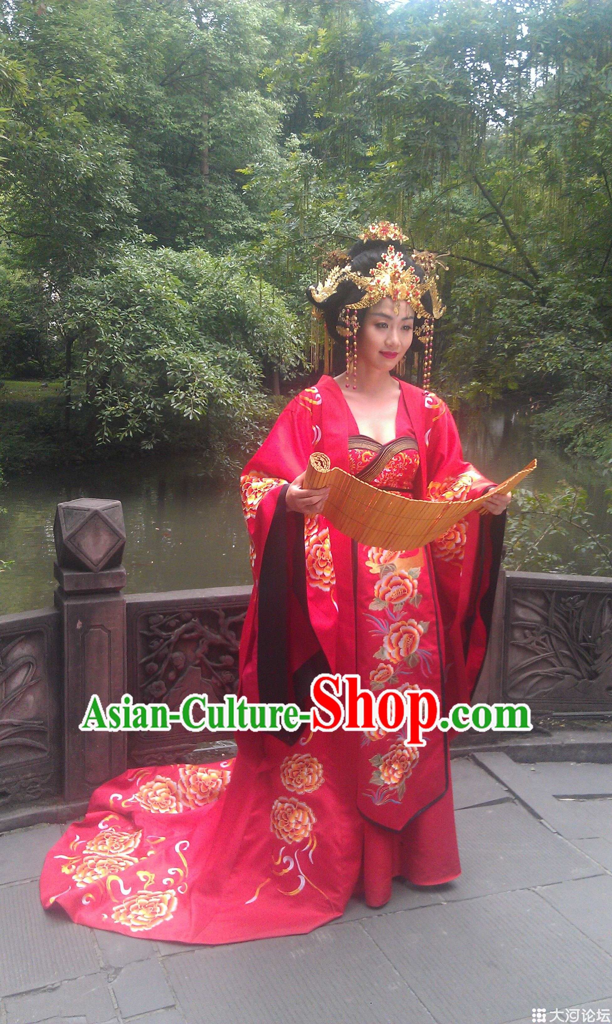 Ancient Red Bridal Dresses and Phoenix Accessories Complete Set for Women