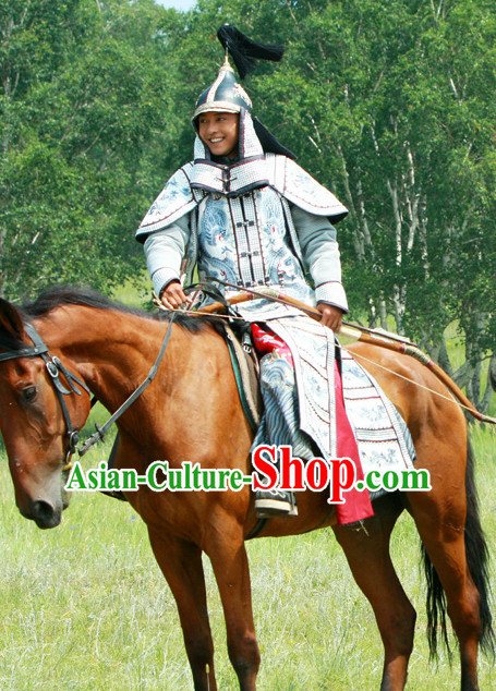Qing General Armor Costumes and Hat Complete Set
