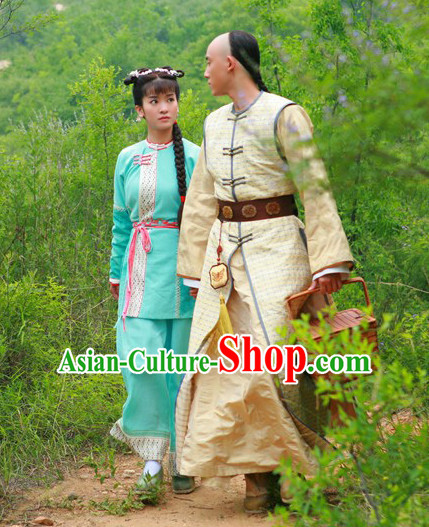 Green Blue Qing Dynasty Mandarin Clothes and Hair Jewelry Complete Set for Women