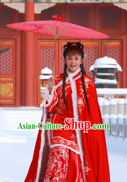Ancient Qing Princess Dresses and Hair Jewelry Complete Set