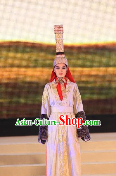 Mongolian Noblewoman Costumes and Hat Complete Set
