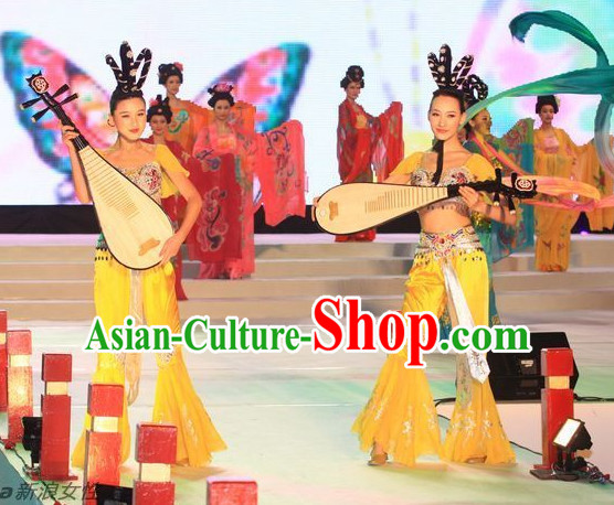 Fei Tian Dance Costumes and Headwear