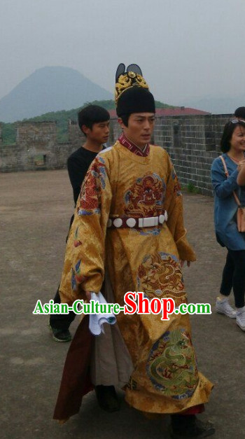 Ming Dynasty Emperor Outfit and Hat Complete Set for Men