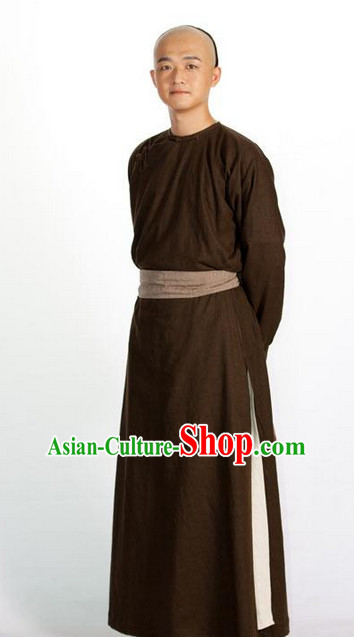 Qing Dynasty Male Long Robe and Belt Complete Set