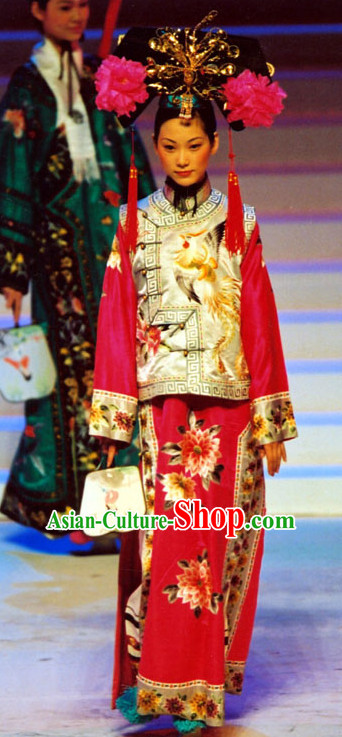 Qing Dynasty Princess Embroidered Outfit and Headwear Complete Set.