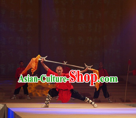 Shaolin Monk Red Blouse and Black Pants Complete Set
