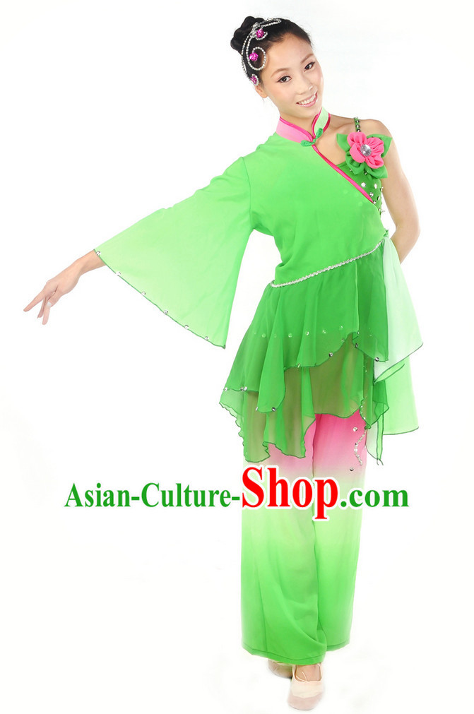Asian Lotus Classic Dancewear and Headwear Complete Set for Women