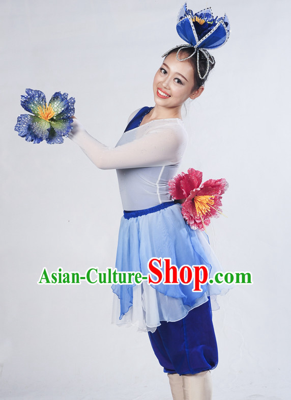 Blue White Flower Dancewear and Flower Hair Decorations Complete Set for Women