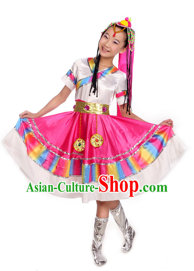 Tibetan Dance Costumesand Hair Decoration Complete Set for Kids