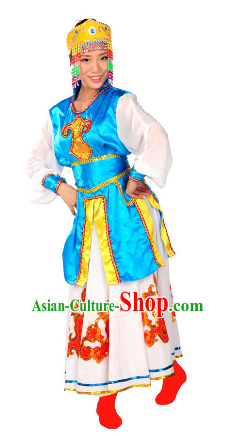 China Folk Mongolian Dance Wear and Headpieces for Girl