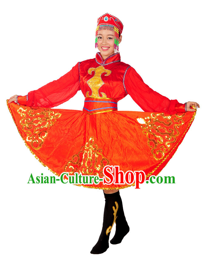 China Folk Mongolian Dance Wear and Headpieces for Girls