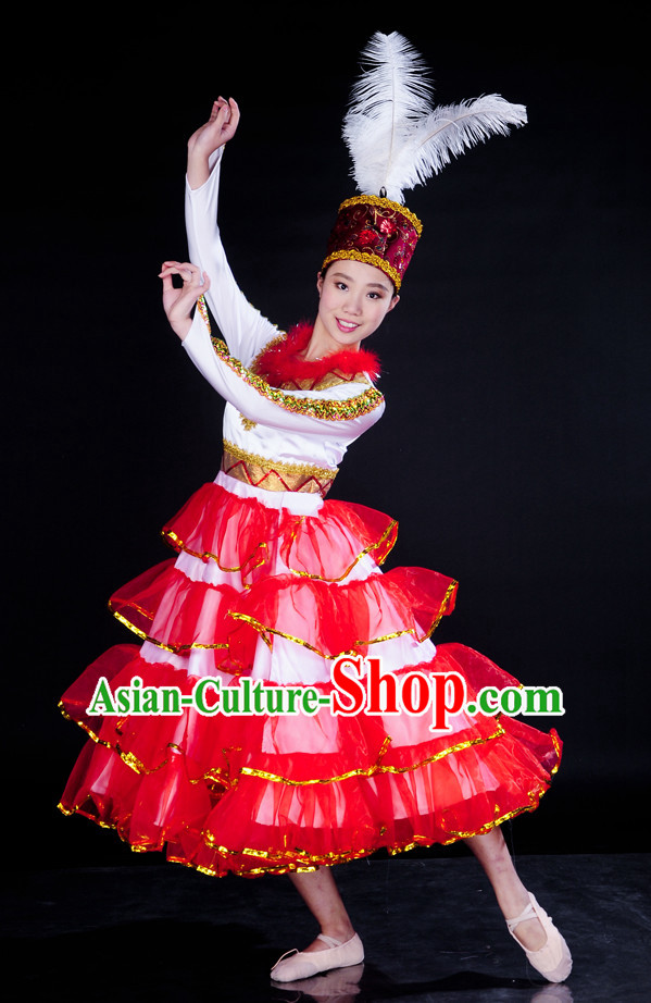 China Stage Ethnic Xinjiang Dance Costume and Headpiece for Girls