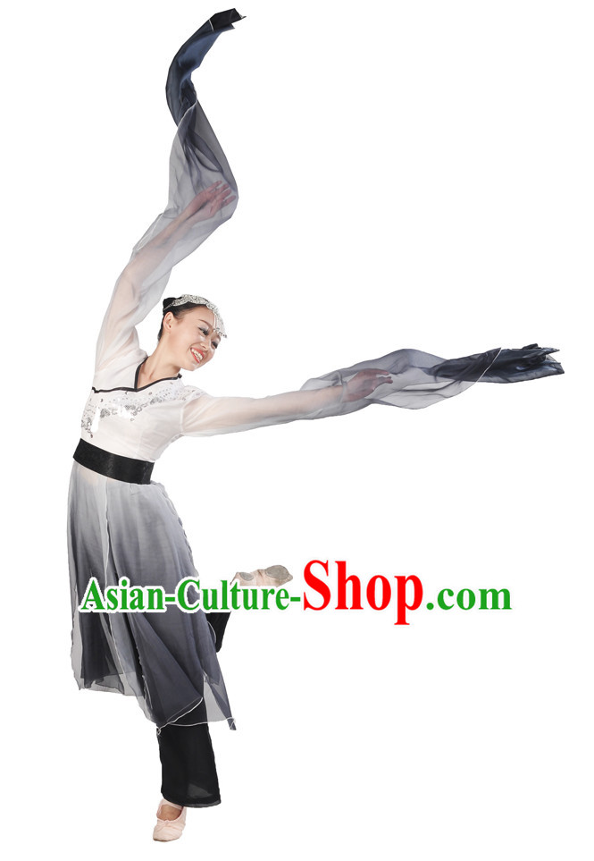 Water Sleeves Color Transition Hanfu Costume and Headpieces Complete Set for Women.