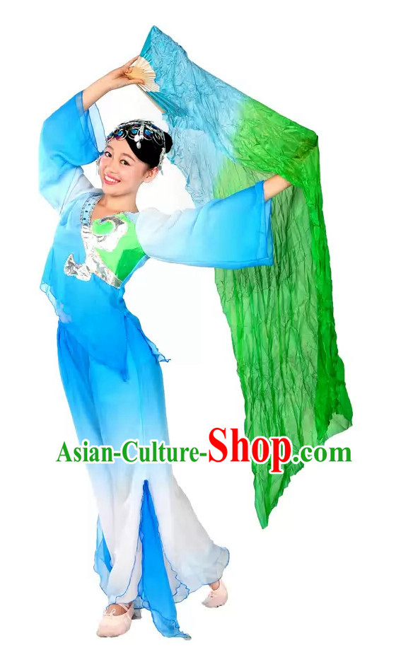 Color Transition Green Blue Silk Dance Fan