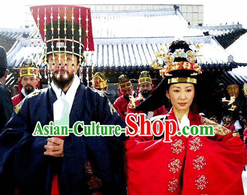 Ancient Korean Emperor and Empress Hats Crowns