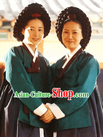 Korean Ancient Hanbok Dress and Wigs Complete Set for Women