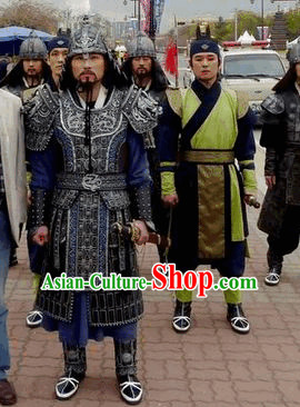 Korean Ancient General Armor Costumes and Hat Complete Set for Men