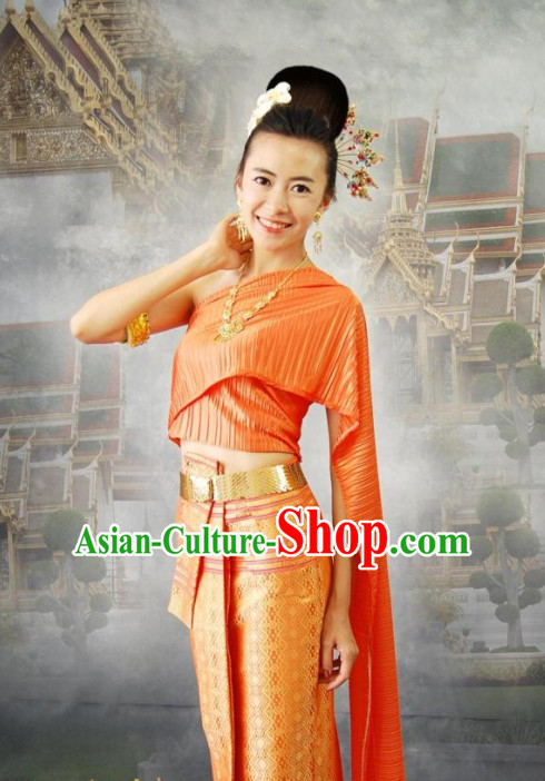 Traditional Thailand Formal Dresses National Costumes and Hair Accessories Complete Set for Women