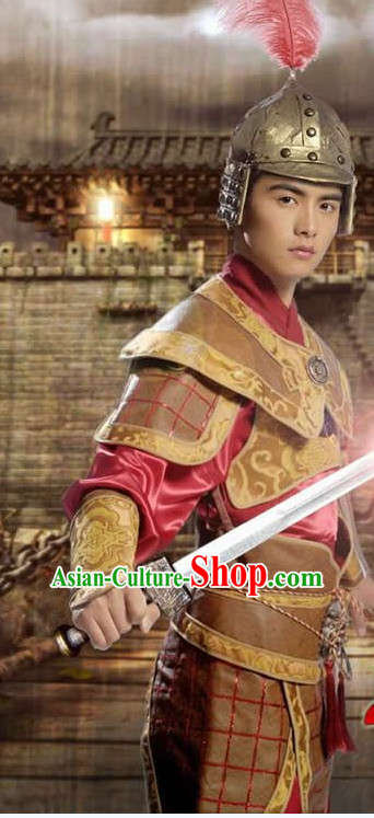 Ancient Asian General Costume and Helmets Outfits for Men