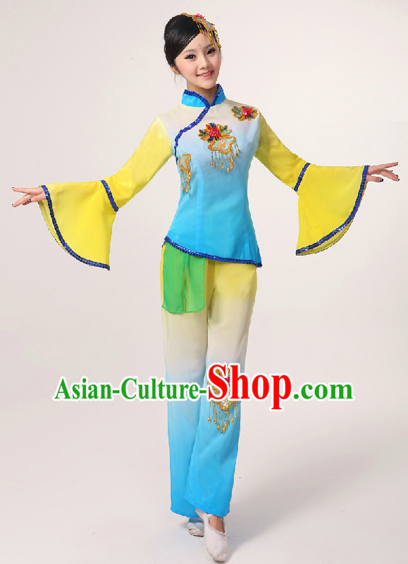 Chinese Folk Fan Group Dancing Costume and Hair Jewelry Complete Set